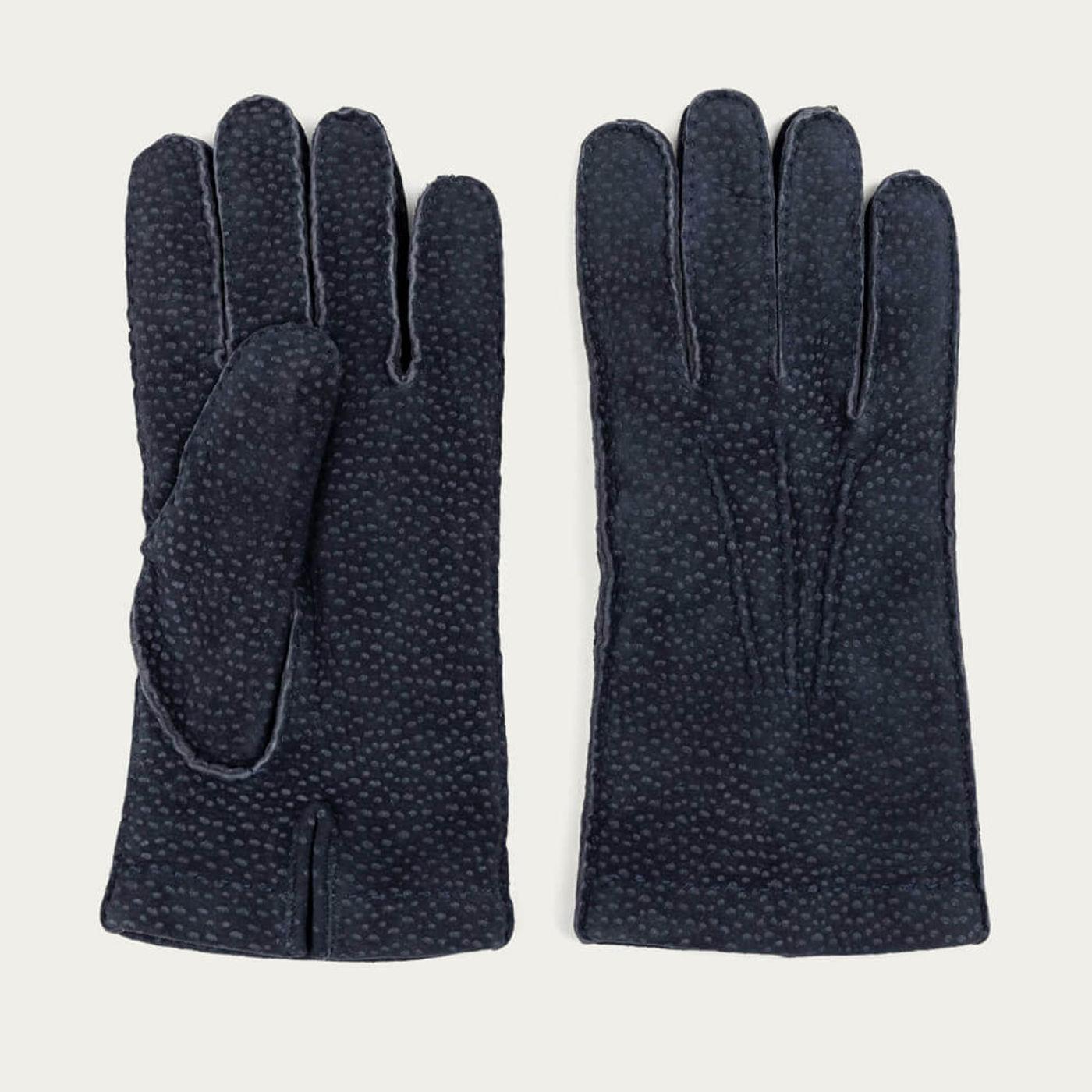 Blue Enzo Carpincho Leather Gloves   Bombinate