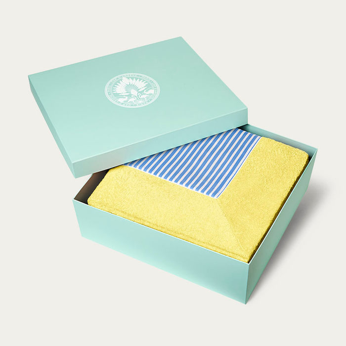 Citron with Cobalt Blue Stripes Grand Luxe Beach Towels | Bombinate