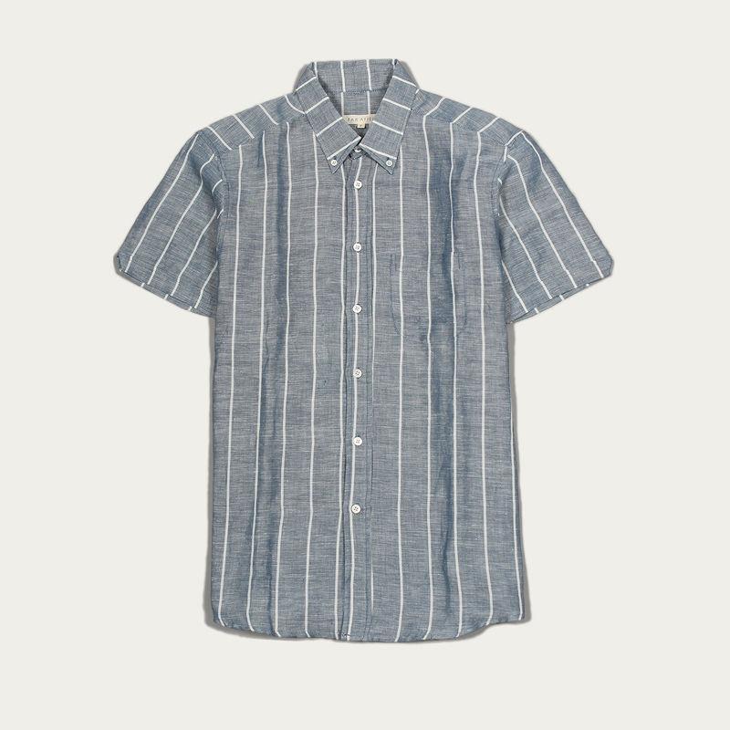 Blue Stripe Linen Mod Button Down S/S Shirt  | Bombinate
