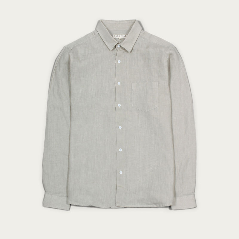 Agate Grey Linen Classic L/S Shirt  | Bombinate