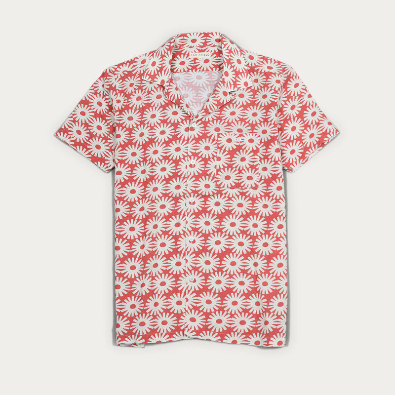 Epik Red Linen Selleck S/S Shirt  | Bombinate