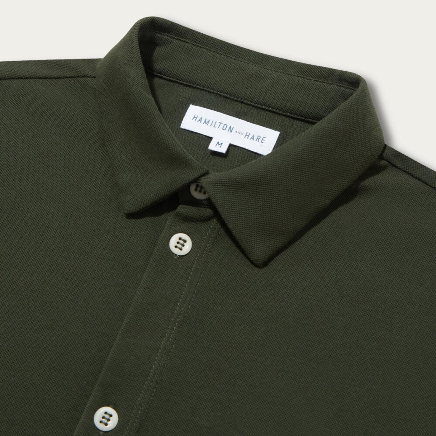 Olive Pique Travel Shirt   Bombinate