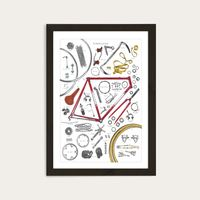 Black Frame Anatomy Of A Bicycle Art Print | Bombinate