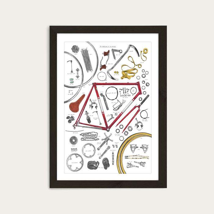 Black Frame Anatomy Of A Bicycle Art Print | Bombinate