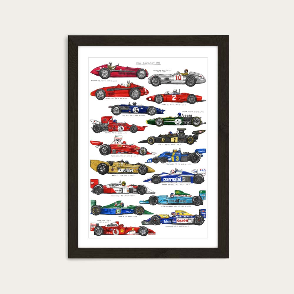 Black Frame F1 Cars Art Print   Bombinate