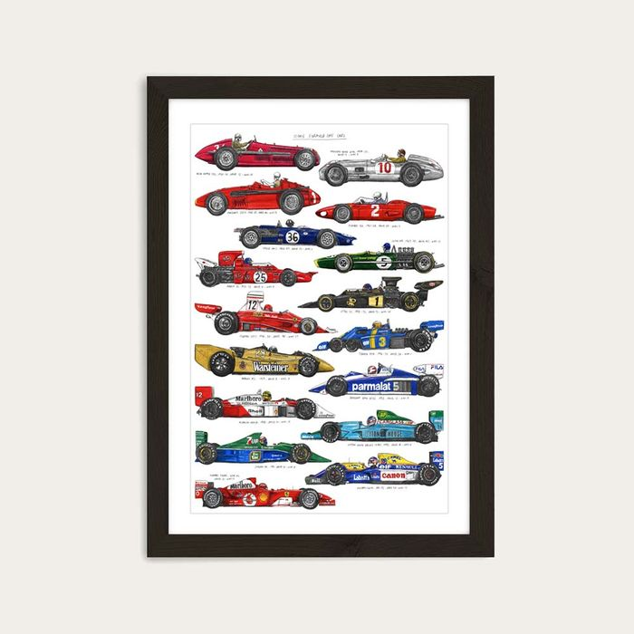 Black Frame F1 Cars Art Print | Bombinate