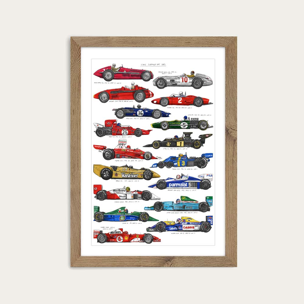 Oak Frame F1 Cars Art Print | Bombinate