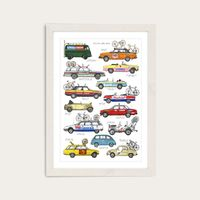 White Frame Race Support Vehicles Art Print | Bombinate