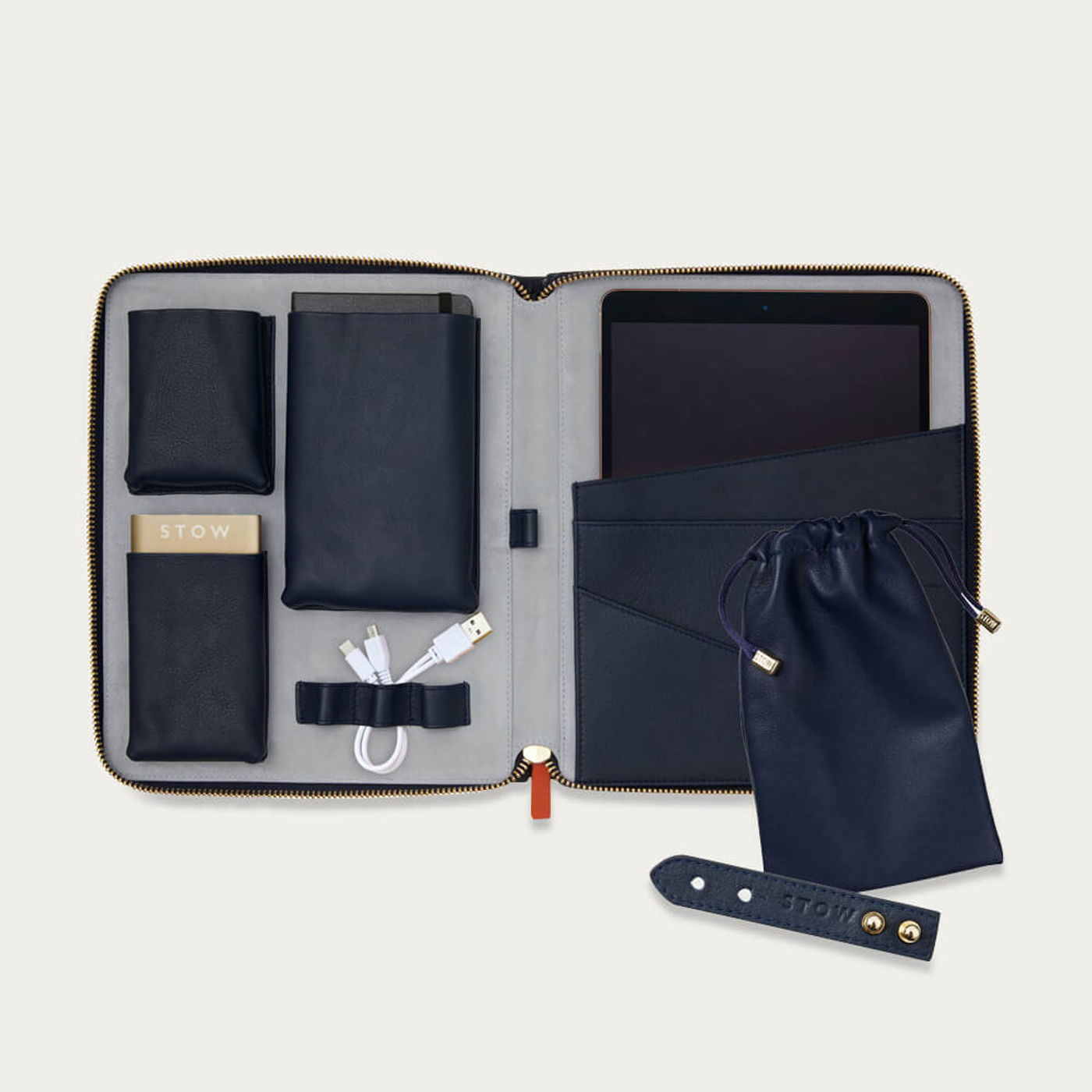 Sapphire Blue & Pale Grey The World Class Leather Tech Set | Bombinate