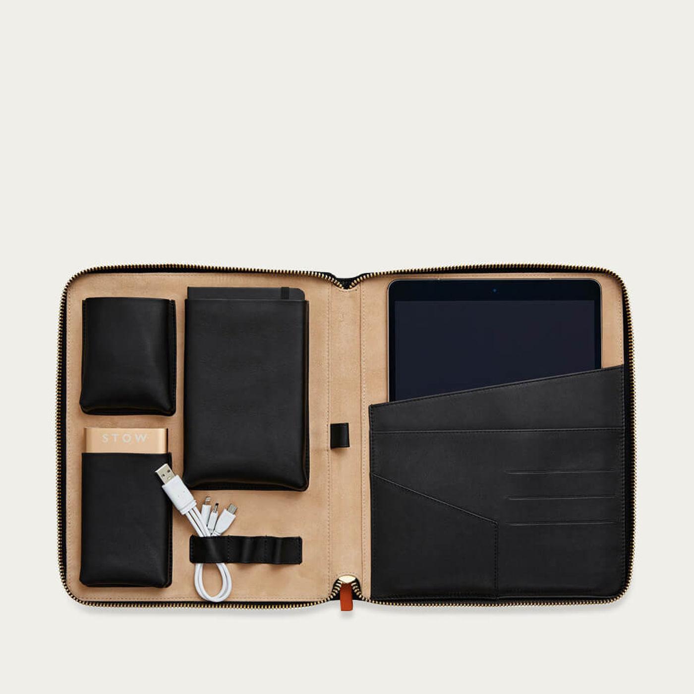 Jet & Soft Sand The World Class Leather Tech Case   Bombinate