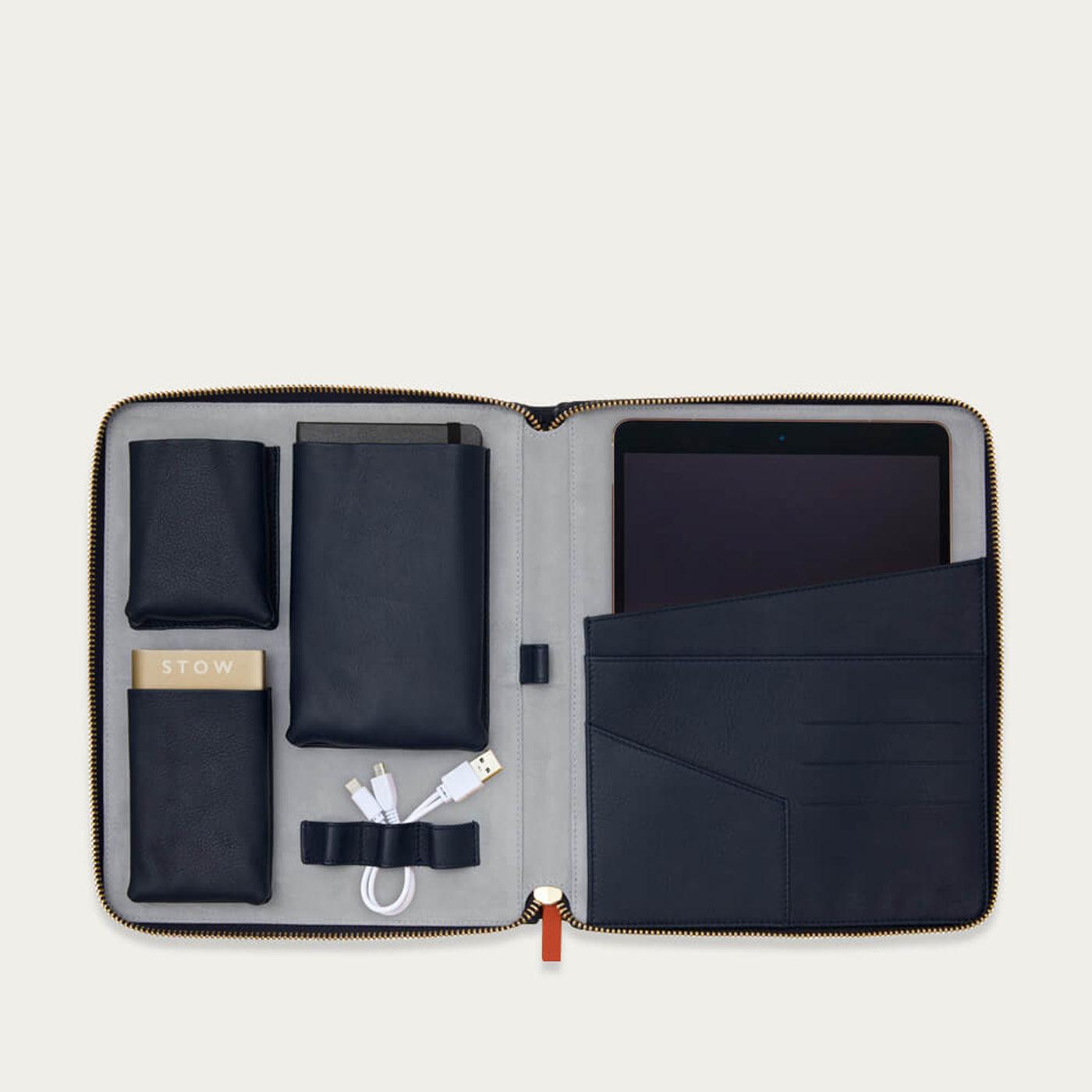 Sapphire Blue & Pale Grey The World Class Leather Tech Case | Bombinate