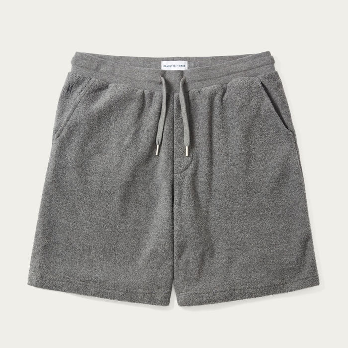 Grey Melange Terry Drawstring Shorts | Bombinate