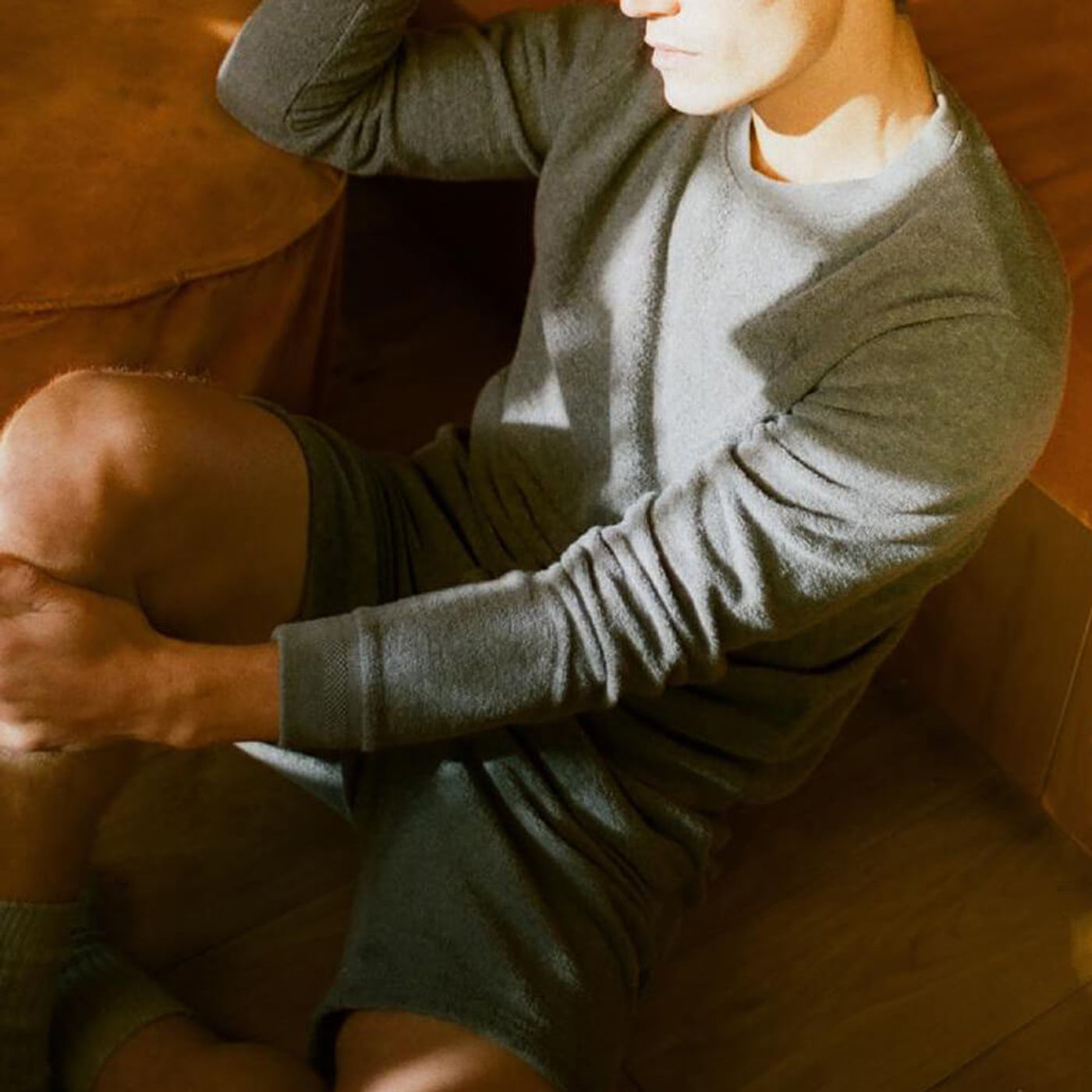 Grey Melange Terry Drawstring Shorts   Bombinate