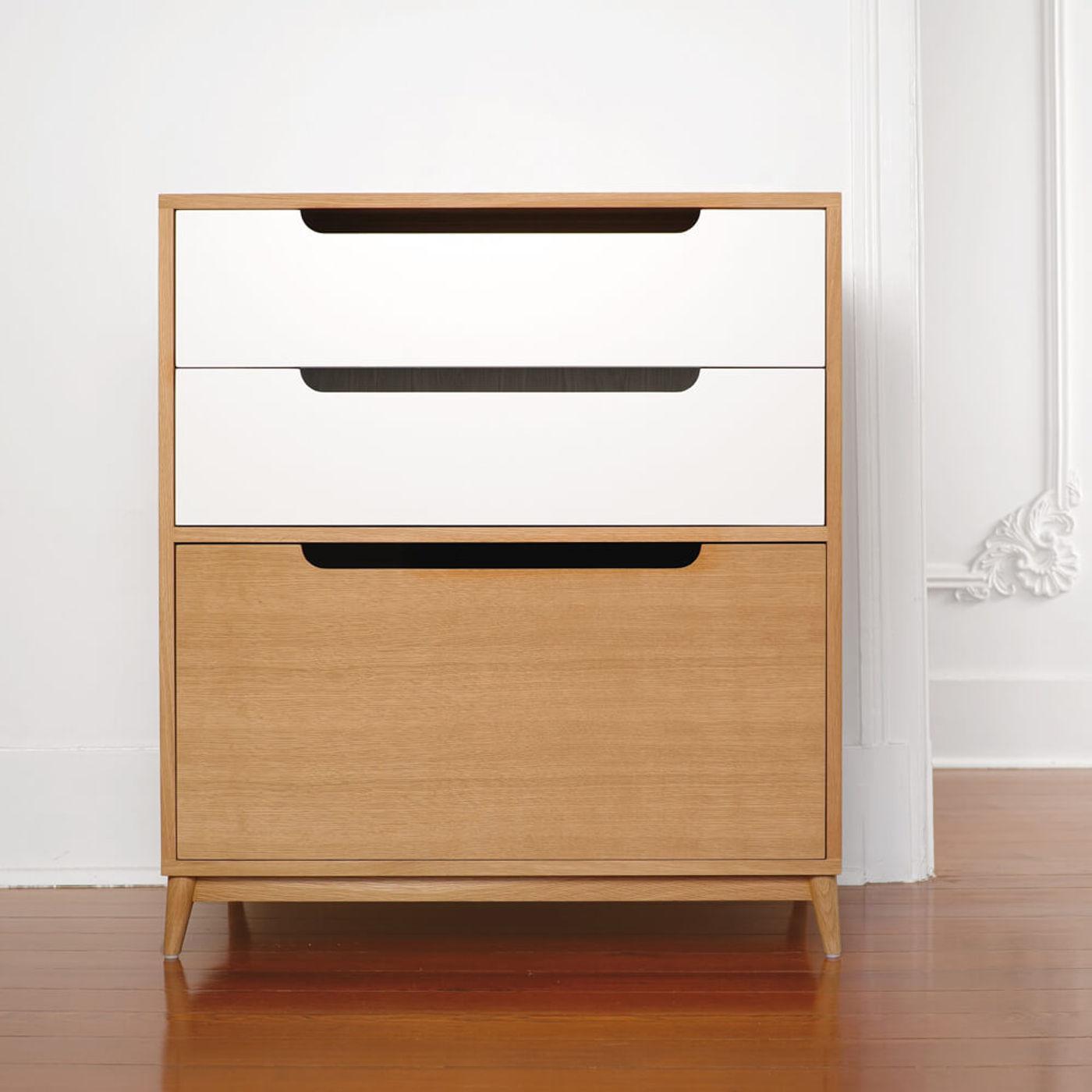 White Small Moka Wood Dresser - Natural Oak   Bombinate