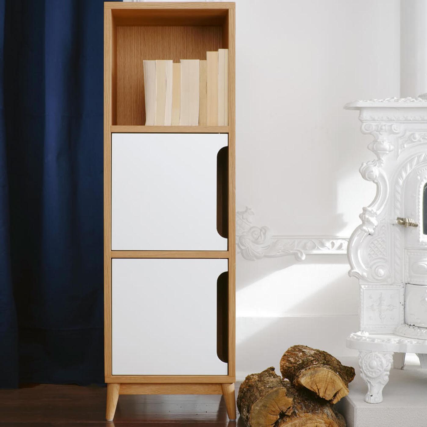 White Kult Storage Column - Natural Oak | Bombinate