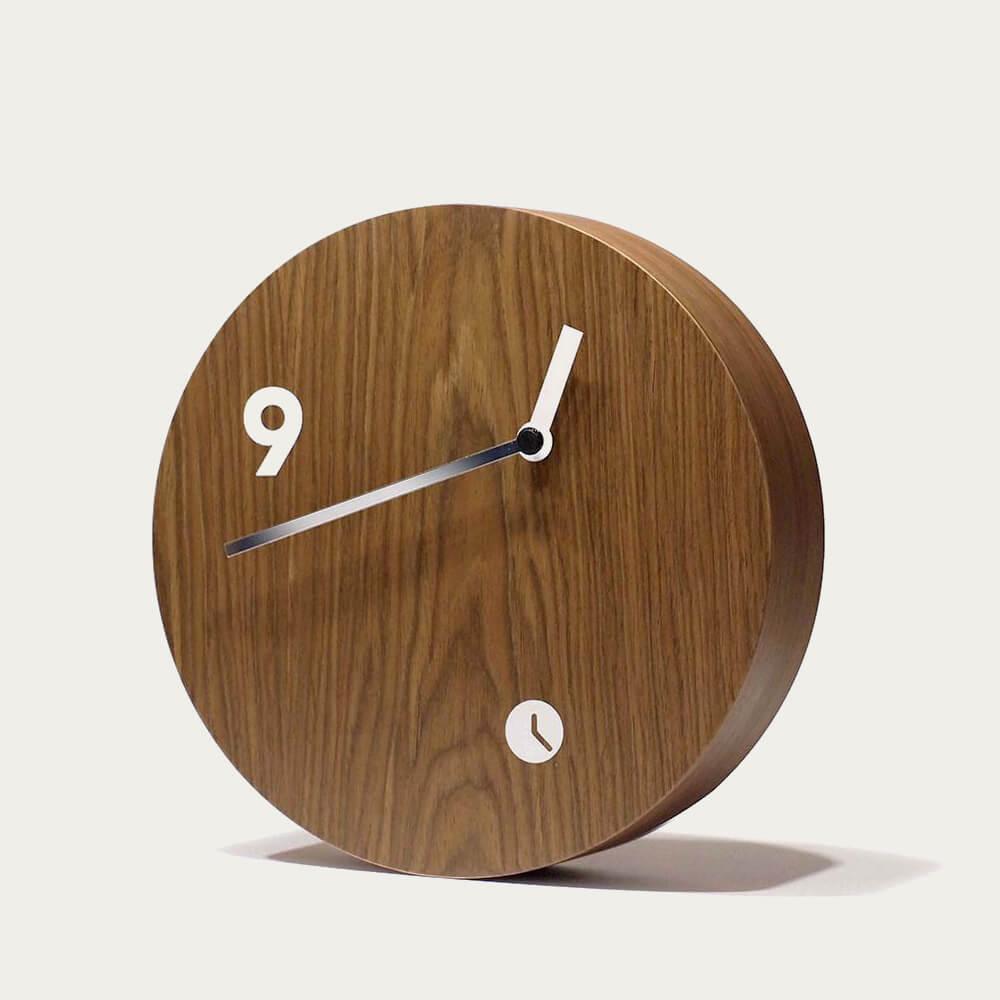 Oak Wood Finished Slice Table Clock | Bombinate