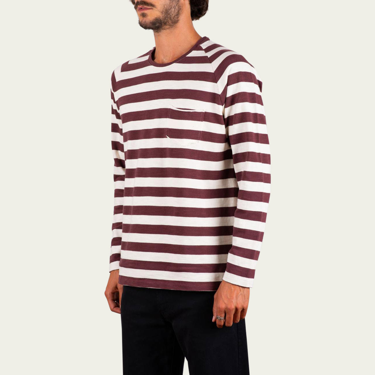 Burgundy and Sand Stripe Fade Out Essential Long Sleeve Tee-shirt | Bombinate