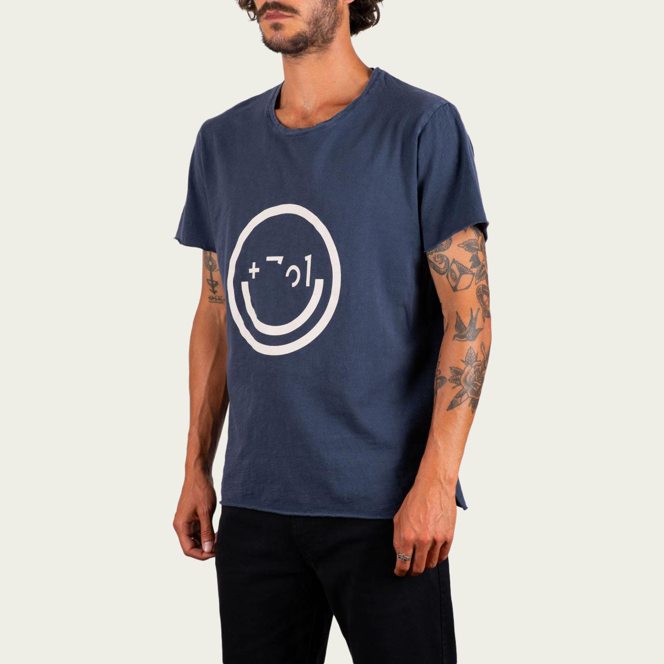 Blue and Sand Smiley Tee-shirt | Bombinate