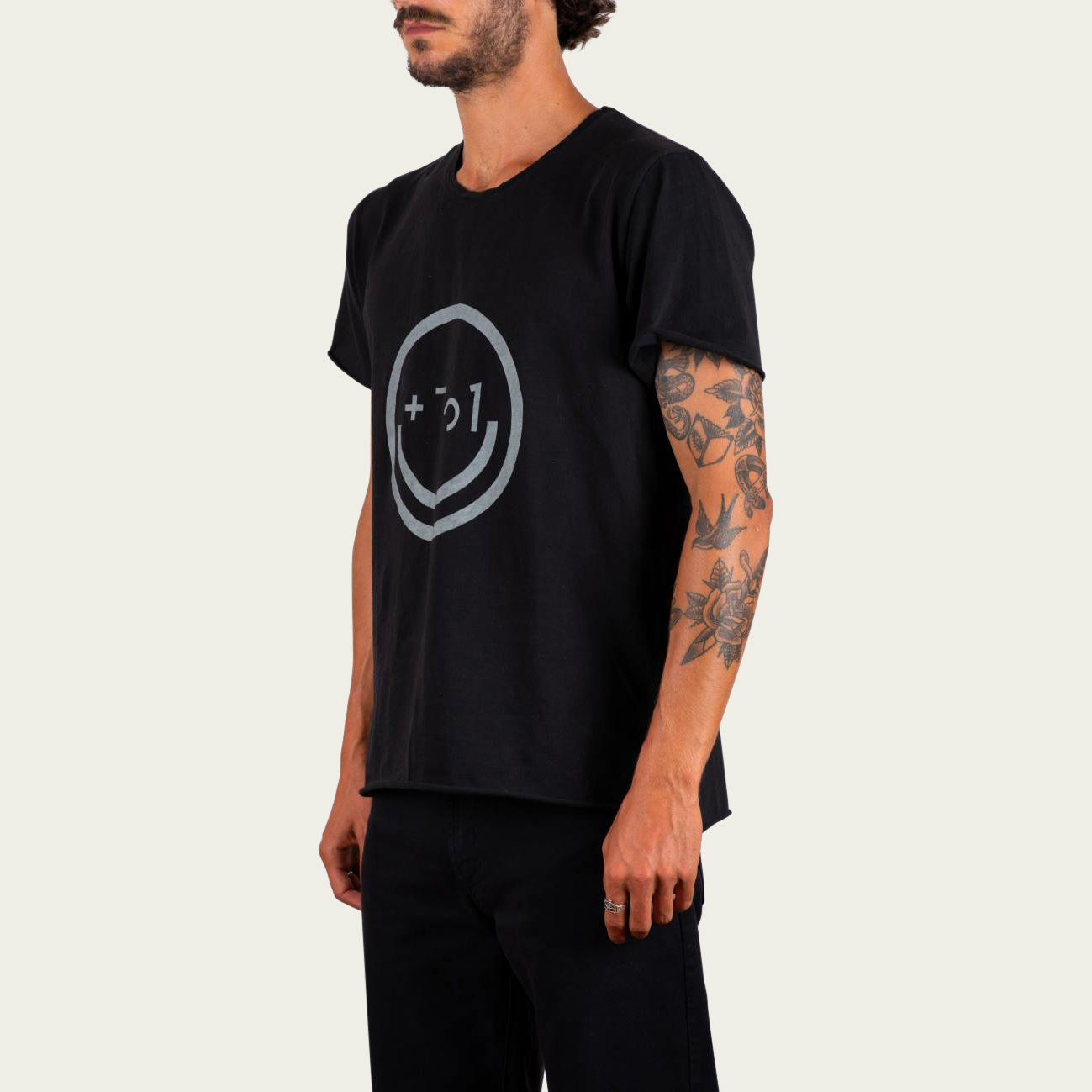 Charcoal and Sand Smiley Tee-shirt | Bombinate