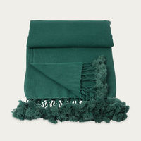 Forest Green Wanaka Cashmere Throw with Pompoms | Bombinate