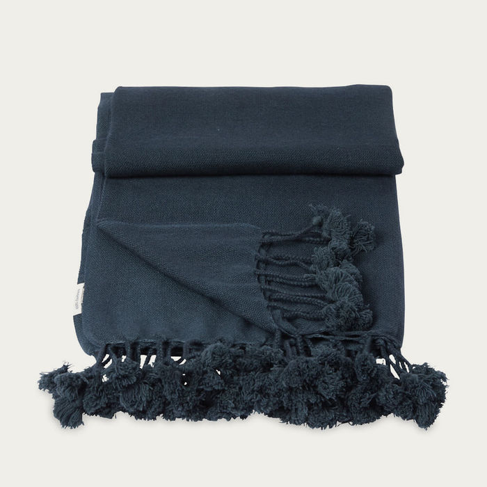 Dark Grey Teal Wanaka Cashmere Throw with Pompoms | Bombinate