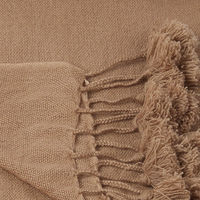 Honey Beig Wanaka Cashmere Throw with Pompoms | Bombinate