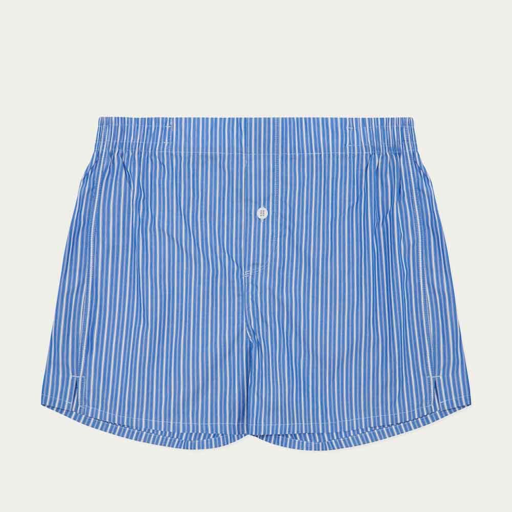 Blue and White Pinstripe Boxer Short  | Bombinate