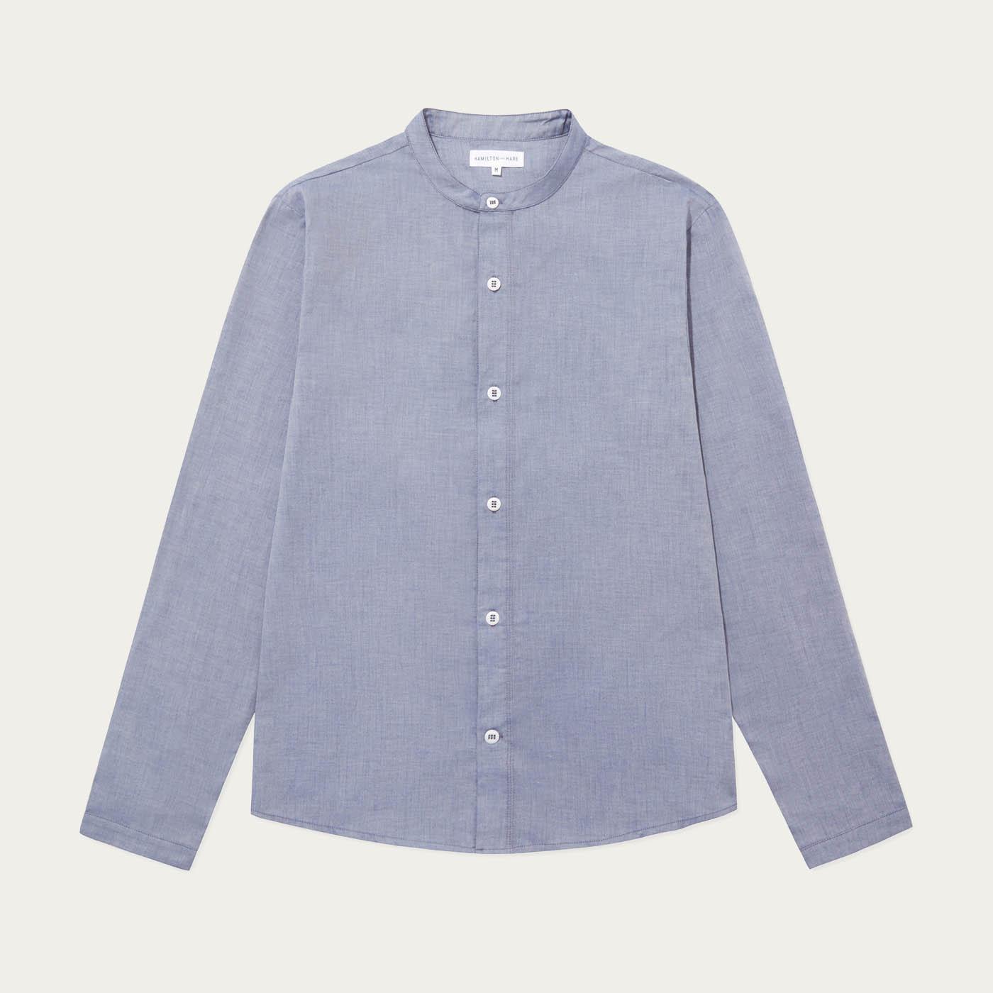 Chambray Blue Cotton Striped Shirt  | Bombinate