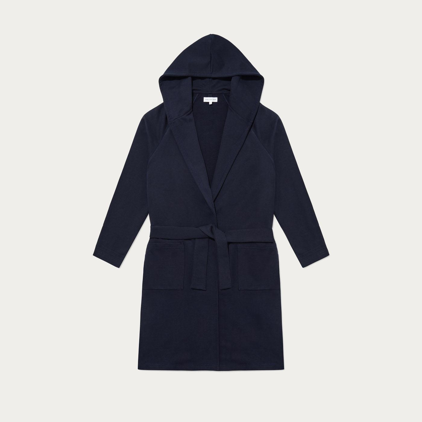 Navy Jersey Hooded Robe  0
