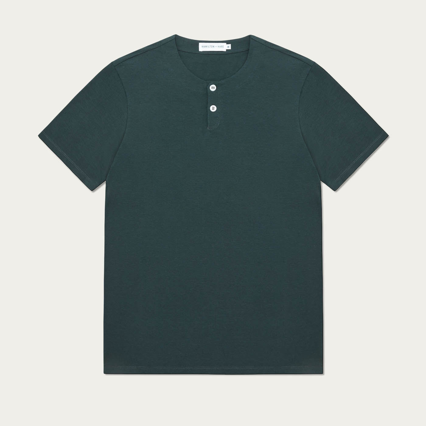 Green Short Sleeve Jersey Henley Tee-shirt 0