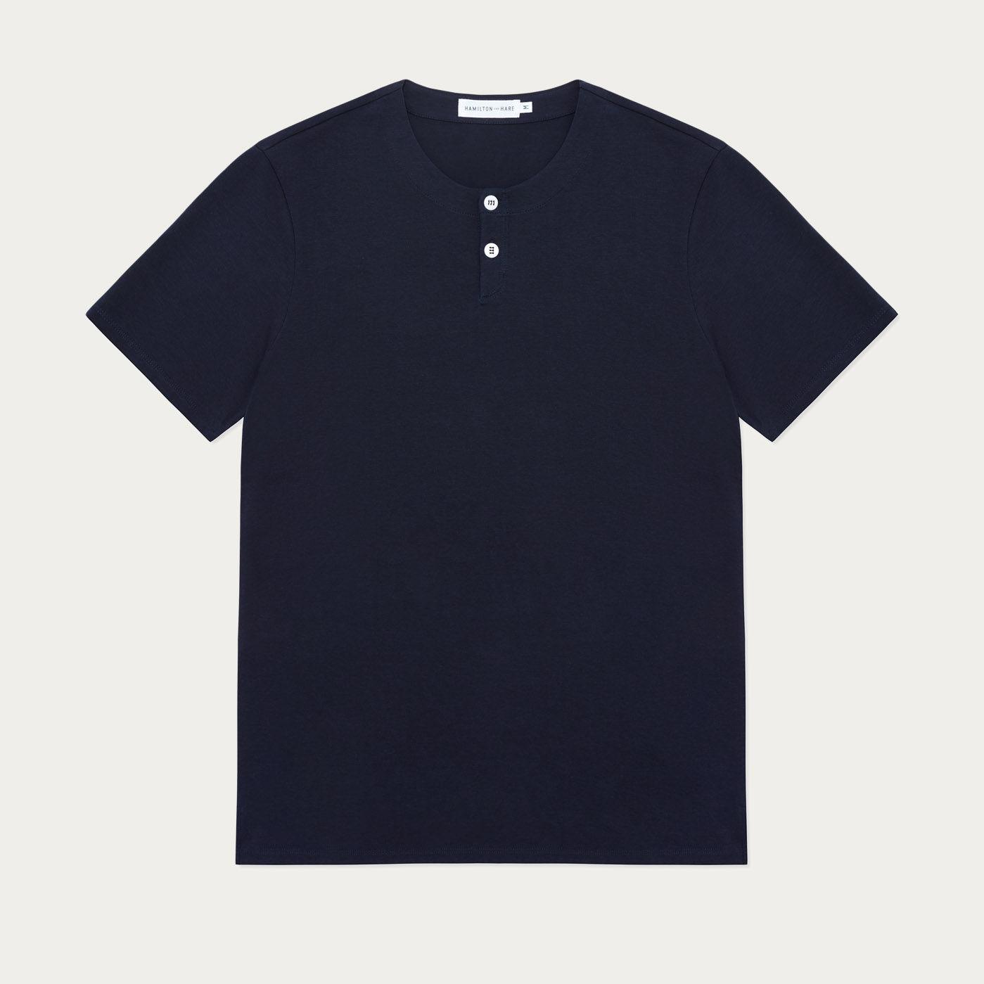 Navy Short Sleeve Jersey Henley Tee-shirt 0