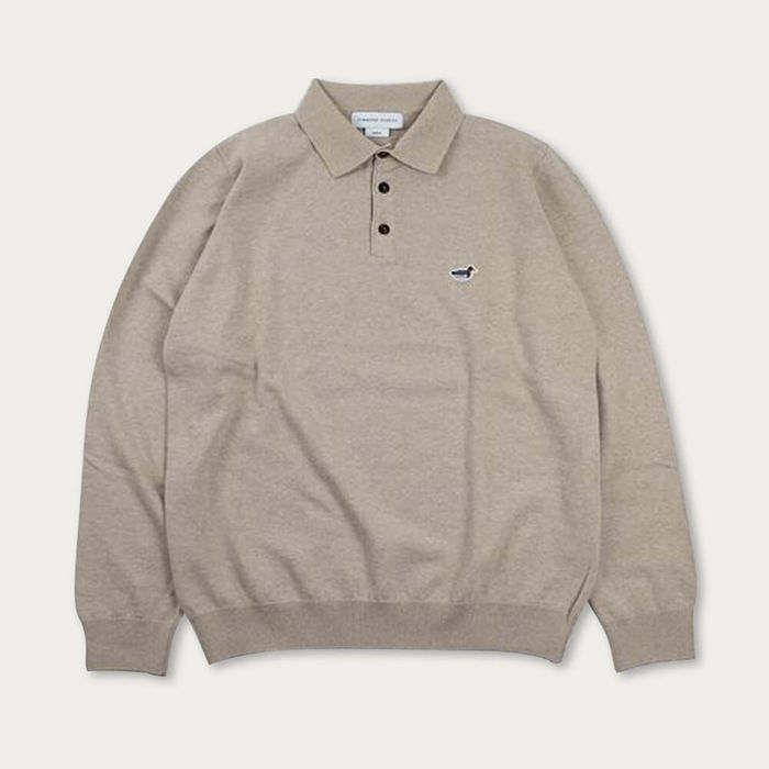 Grey Melange Cotton Knit Polo Sweater | Bombinate