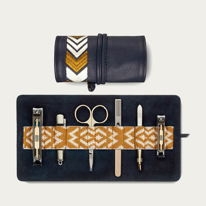 Navy Blue/Yellow Gaucho Grooming Roll: Men's Manicure Set | Bombinate