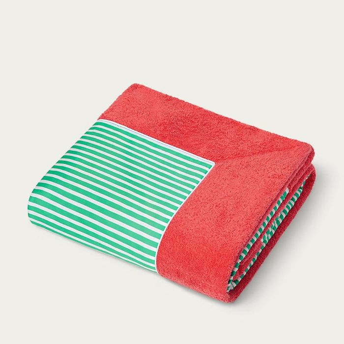 Coral with Green Stripes Grand Luxe Beach Towels | Bombinate