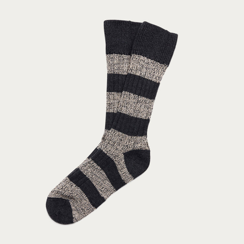 Charcoal Mix Stripe Merino Wool Socks  | Bombinate