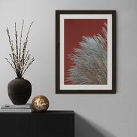 Grasses In The Wind - Terracotta Art Print Black Frame | Bombinate