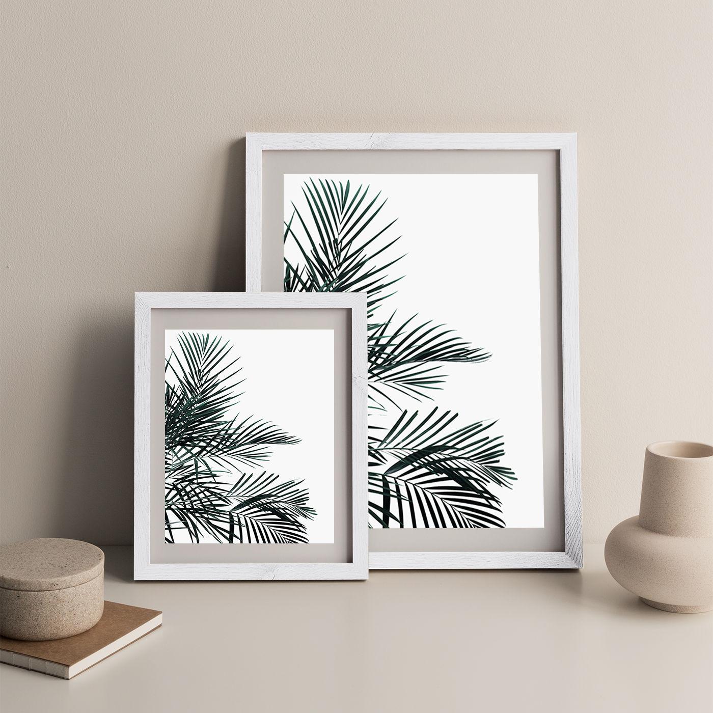 Minimal Palm Leaf Art Print White Frame   Bombinate