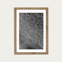 Where Sand and Water Meet - Black & White Edition Art Print Oak Frame   Bombinate