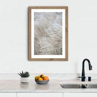 White Beige Boho Dreams - Pampas Art Print Oak Frame   Bombinate