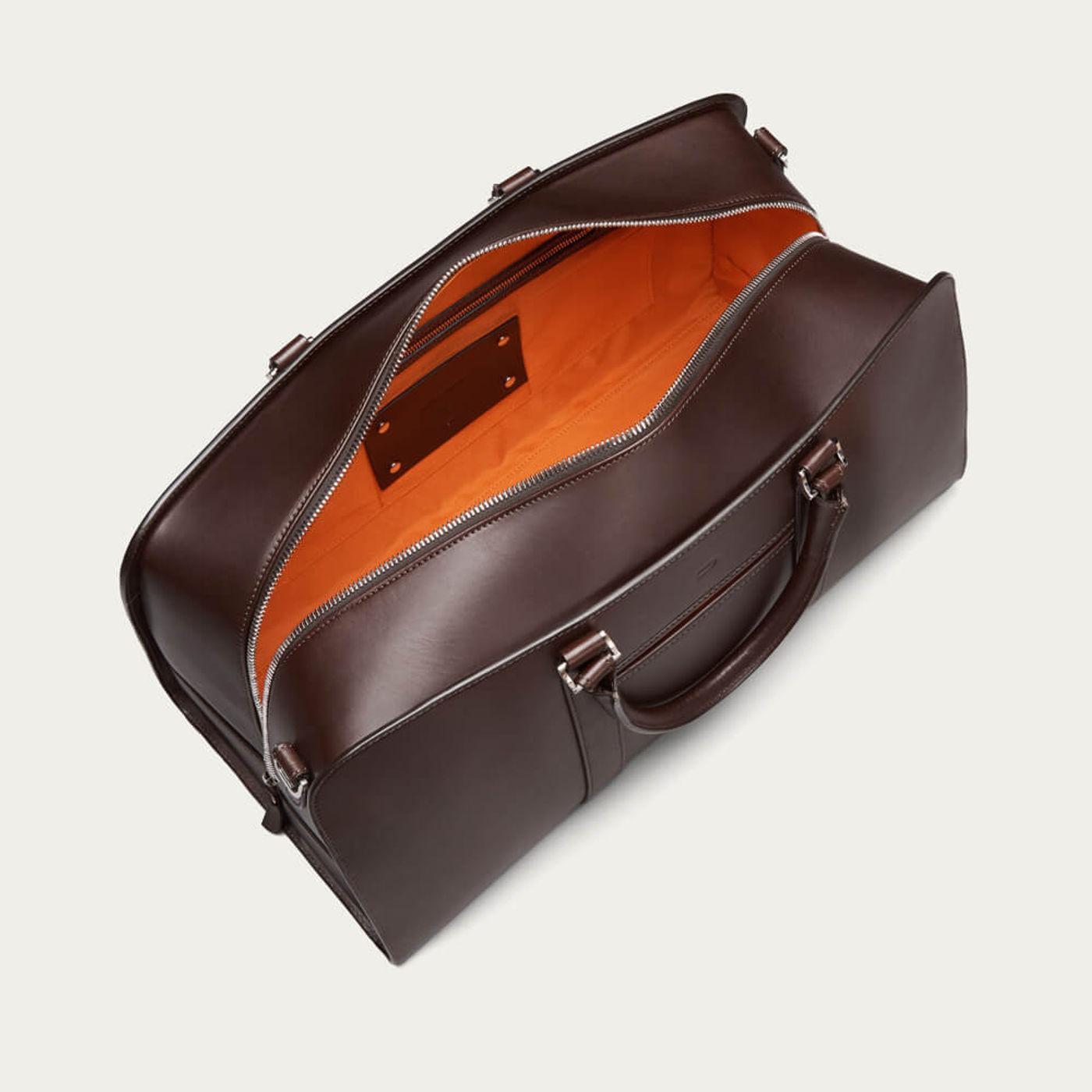 Chocolate with Orange Lining Palissy Weekend Leather Bag | Bombinate