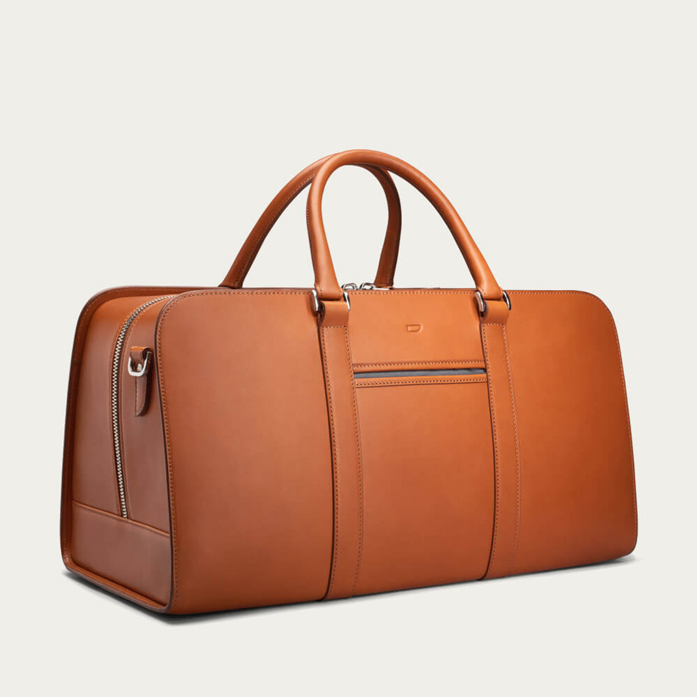 Cognac with Grey Lining Palissy Weekend Leather Bag   Bombinate