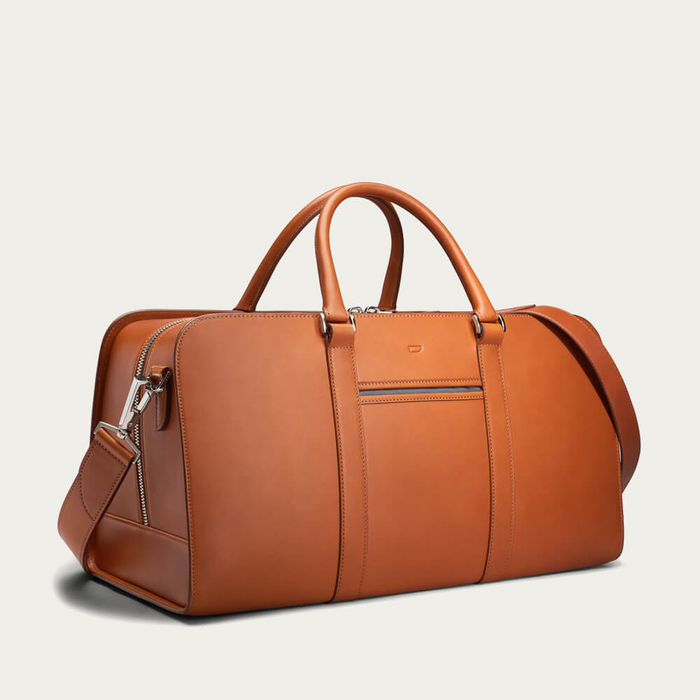 Cognac with Grey Lining Palissy Weekend Leather Bag | Bombinate