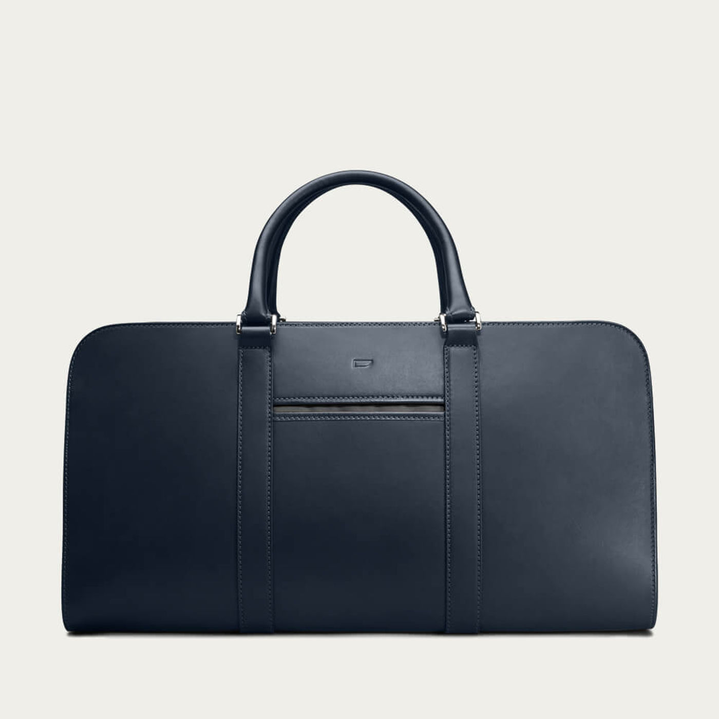 Navy with Grey Lining Palissy Weekend Leather Bag   Bombinate