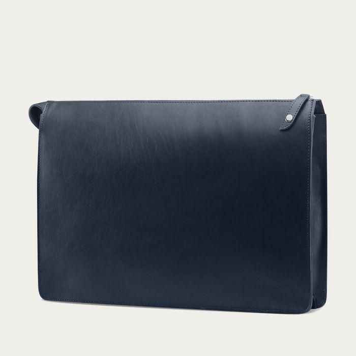 Navy with Grey Lining Goswell Slim Leather Portfolio | Bombinate