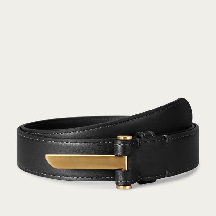 Black Blade Slim Leather Belt in Brass Finish | Bombinate