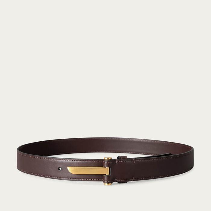 Chocolate Blade Slim Leather Belt in Brass Finish | Bombinate