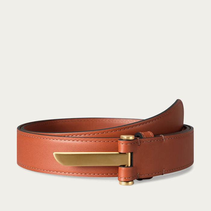 Cognac Blade Slim Leather Belt in Brass Finish | Bombinate