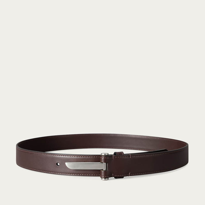 Chocolate Blade Slim Leather Belt in Palladium Finish | Bombinate