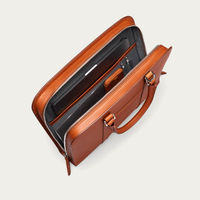 Cognac with Grey Lining Palissy Slim Leather Briefcase | Bombinate