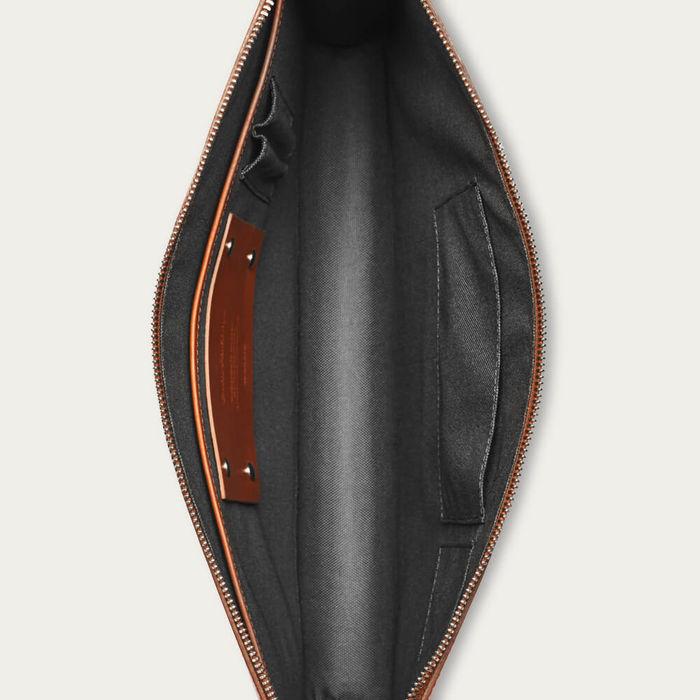 Cognac with Grey Lining Goswell Slim Leather Portfolio | Bombinate